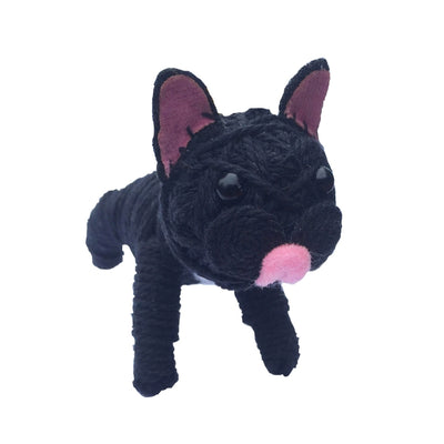 Kamibashi String Doll Keychain - Frenchie the dog black
