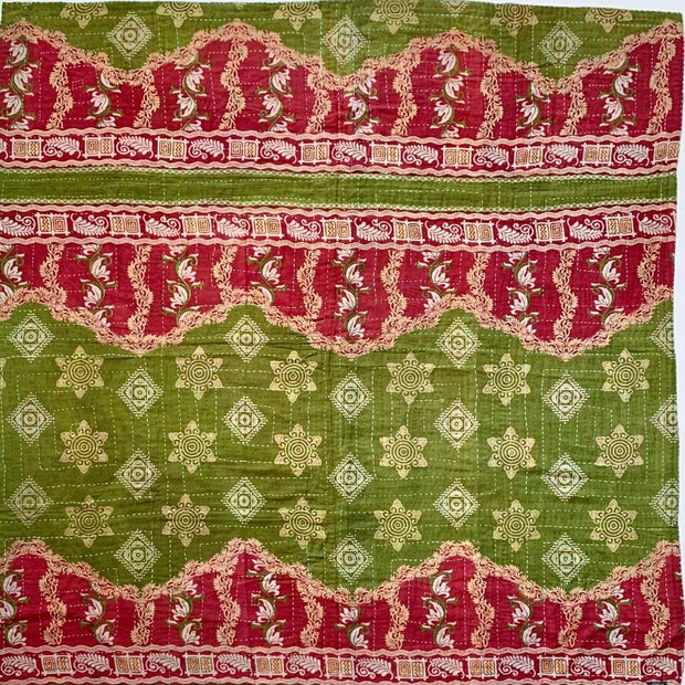 Kantha Reversible Quilted Sari Throw Side B
