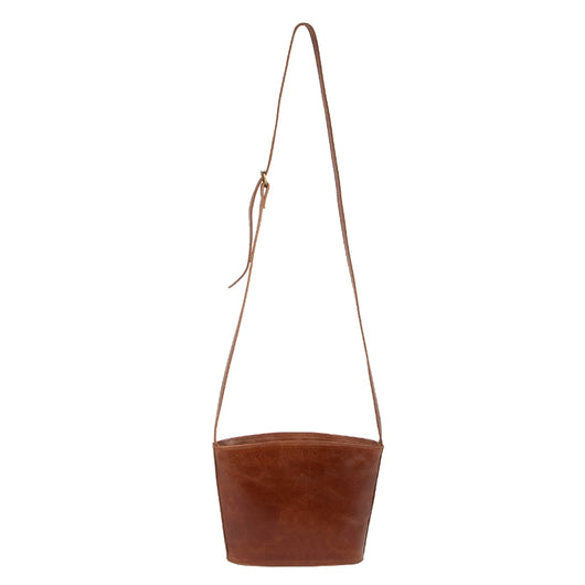Kavita All Leather Crossbody Bag with full strap view
