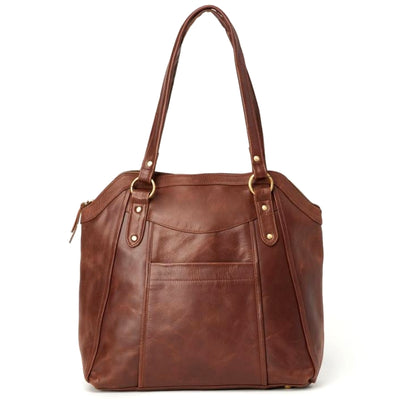 Keya All Leather Tote Bag front view