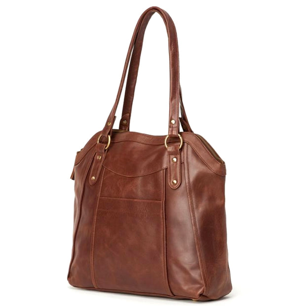 Keya All Leather Tote Bag side view