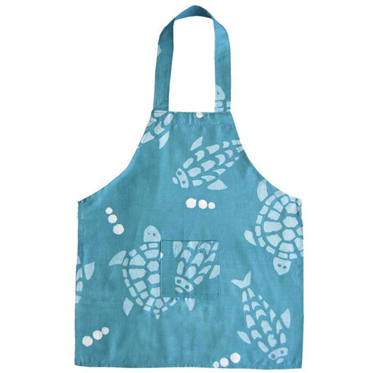 Handmade and Fair Trade Kids Apron - Aqua Fishy Turtles