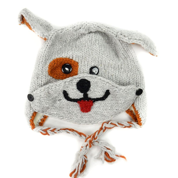Kids Hand-knit Hat with Face Mask Set - Dog