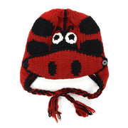 Kids Hand-knit Hat with Face Mask Set - Labybug