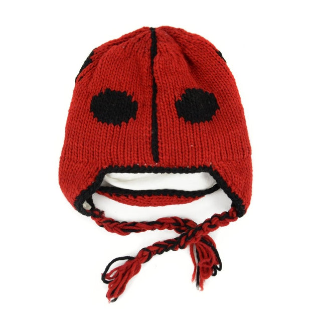 Kids Hand-knit Hat with Face Mask Set - Labybug back