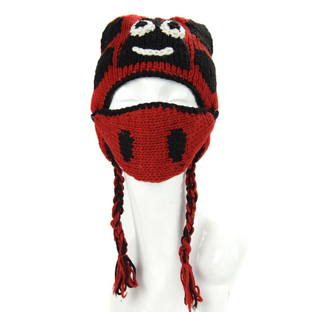 Kids Hand-knit Hat with Face Mask Set - Labybug front