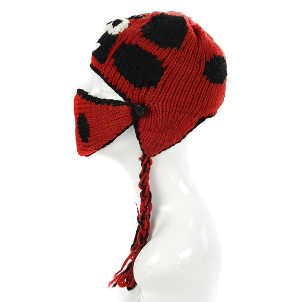 Kids Hand-knit Hat with Face Mask Set - Labybug side view