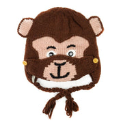 Kids Hand-knit Hat with Face Mask Set - Monkey