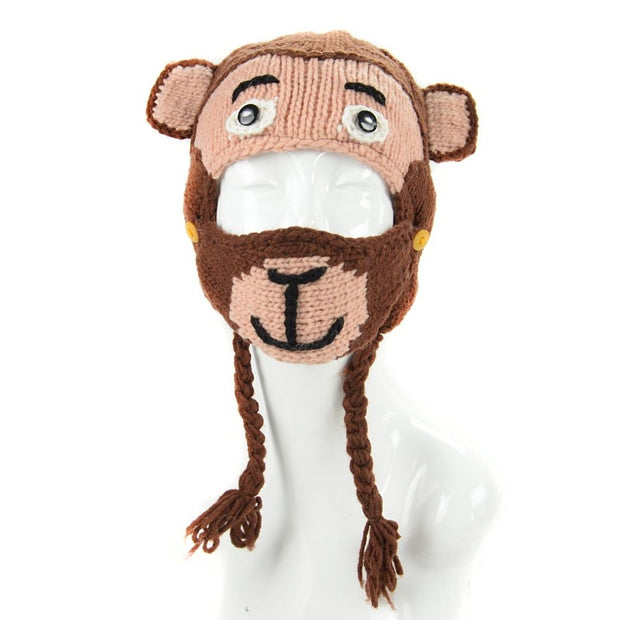 Kids Hand-knit Hat with Face Mask Set - Monkey front
