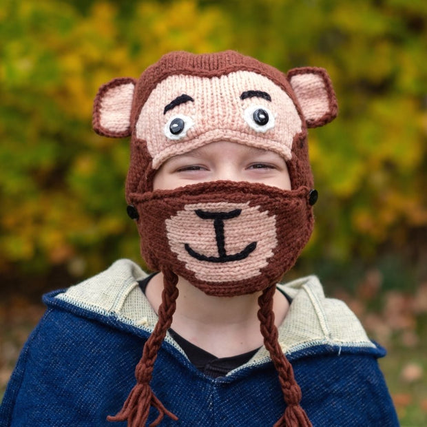 Kids Hand-knit Hat with Face Mask Set - Monkey lifestyle