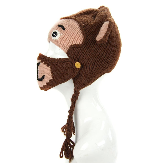 Kids Hand-knit Hat with Face Mask Set - Monkey side view