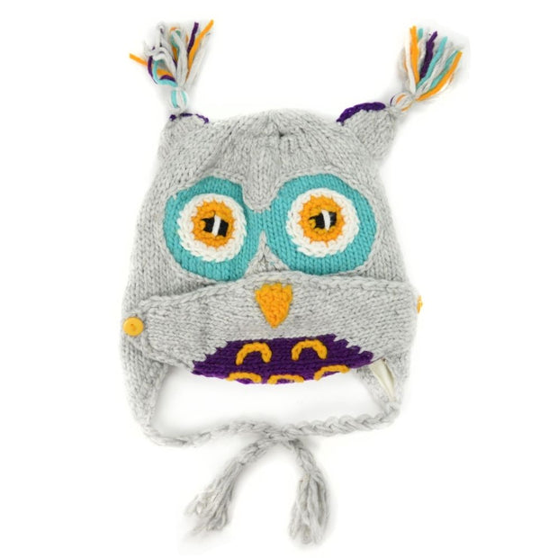 Kids Hand-knit Hat with Face Mask Set - Owl