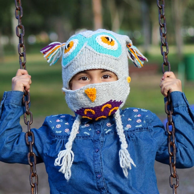 Kids Hand-knit Hat with Face Mask Set - Owl lifestyle