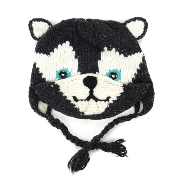 Kids Hand-knit Hat with Face Mask Set - Wolf