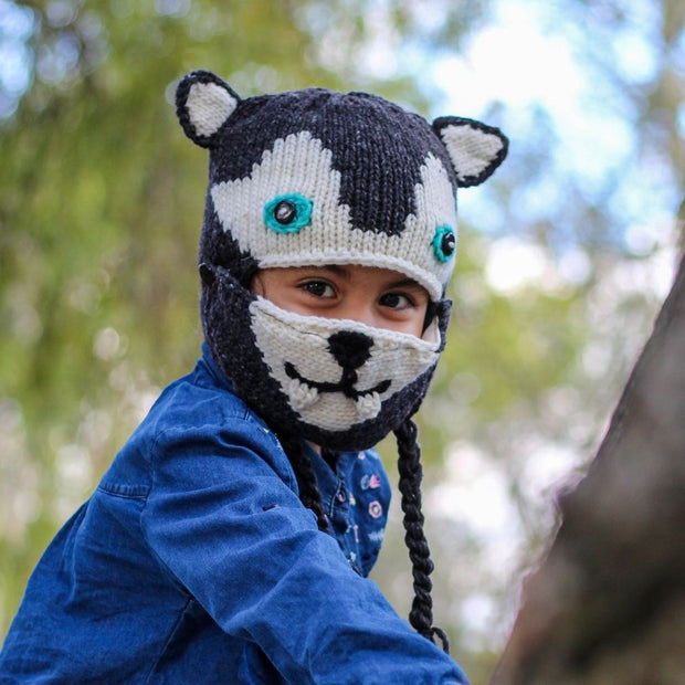 Kids Hand-knit Hat with Face Mask Set - Wolf lifestyle