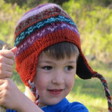 Kid's Handknit Wool Earflap Hat with Lining