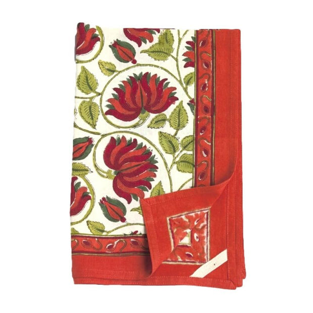 Block Printed Cotton Kitchen Towel - Red Orange Lotus