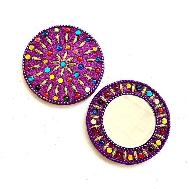 Kashmiri Round Hand Mirror - Purple