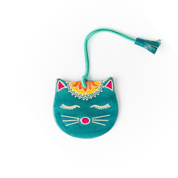 Embossed Leather Kitty Luggage Tag
