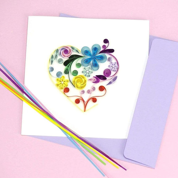 Quilled Floral Rainbow Heart Card lifestyle