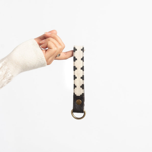 Printed Canvas and Leather Keychain - Cross Print lifestyle