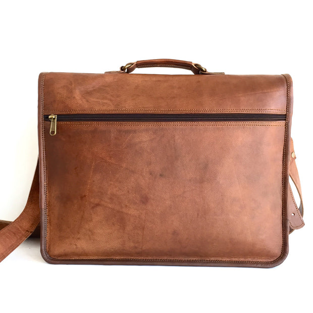 15-inch Genuine Leather Laptop Messenger Bag back view