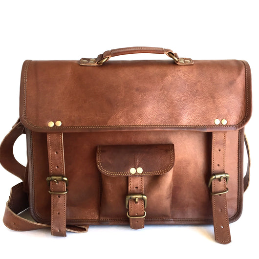 15-inch Genuine Leather Laptop Messenger Bag front view