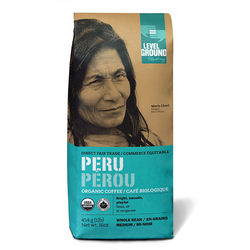 Organic Peru Medium Roast Coffee - Whole Bean 1 pound bag