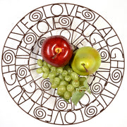 Live Love Laugh Recycled Wire Bowl with fruit
