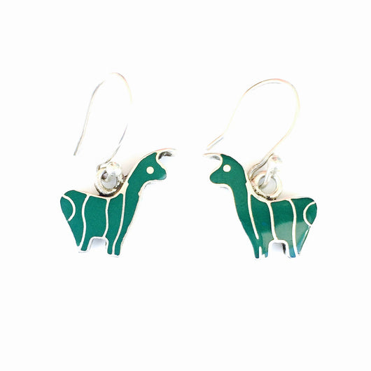 Sterling Silver and Stone Llama Earrings