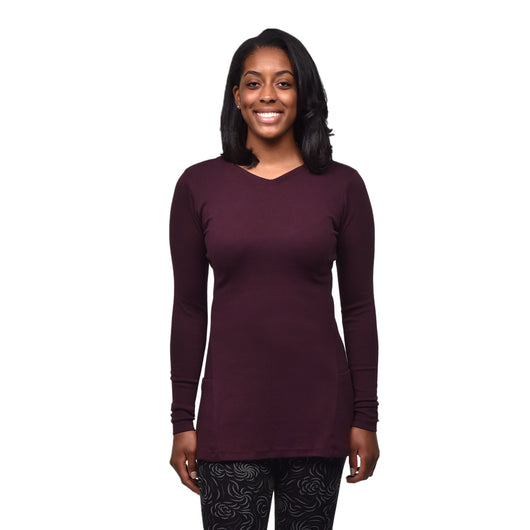 Organic Cotton Long Sleeve Pocket Tunic - Aubergine