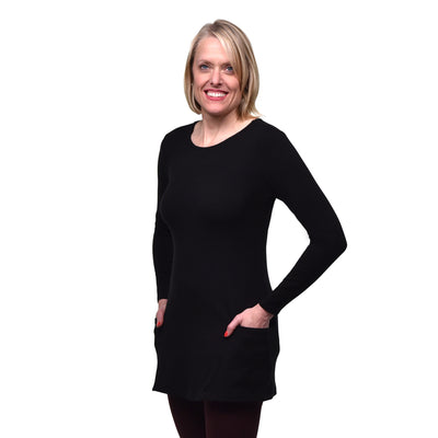 Organic Cotton Long Sleeve Pocket Tunic - Black frontview