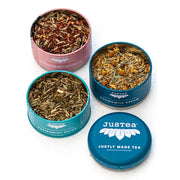 JusTea Loose Leaf Herbal Tea Trio Gift Tin open tins
