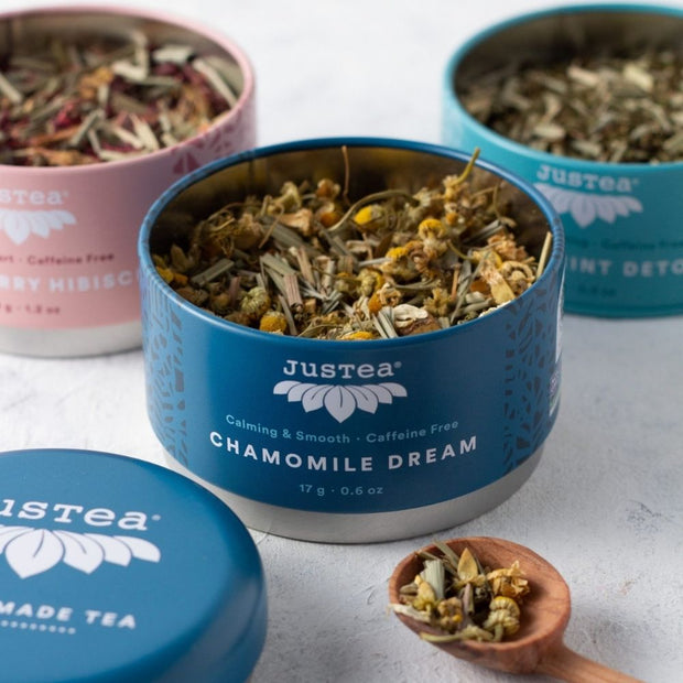 JusTea Loose Leaf Herbal Tea Gift Trio open tins