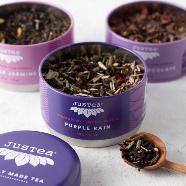 JusTea Loose Leaf Purple Tea Gift Trio open tins