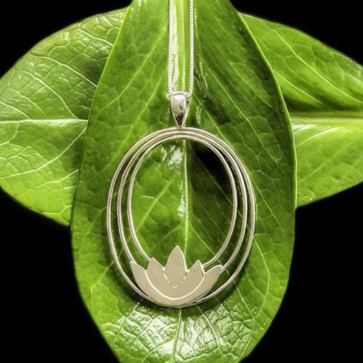 Sterling Silver Lotus Pendant Necklace from Bali-Indonesia
