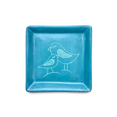 Square Soapstone Dish - Loving Adult and Baby Bird