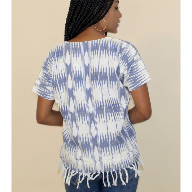 Lua Ikat Blue and White Shirt back view