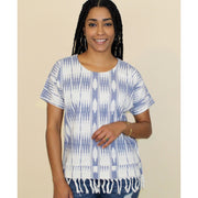 Lua Ikat Blue and White Shirt front view