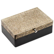 Large Wood Treasure Box with Silver Metal Lid closed