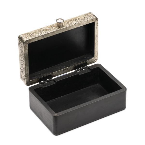 Large Wood Treasure Box with Silver Metal Lid open
