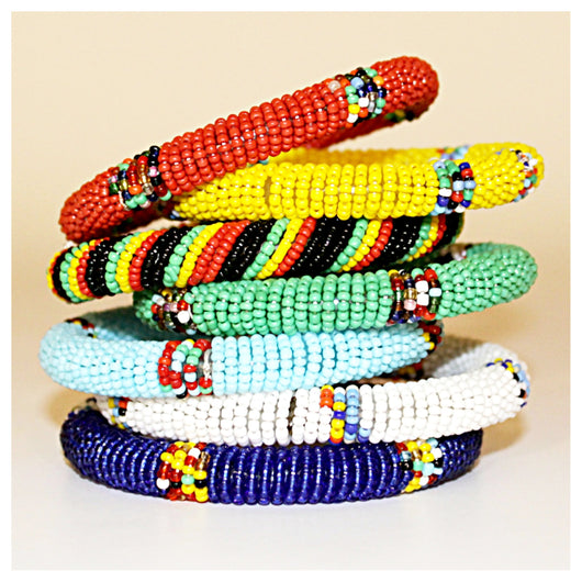 Handmade and Fair Trade Bead Bangles in multiple colors