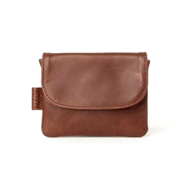 Mahi Brown Leather Mini Slim Wallet frontview