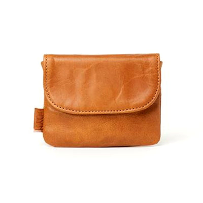 Mahi Camel Leather Mini Slim Wallet frontview