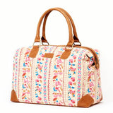 Malti Printed Cotton and Vegan Weekender Bag- Painted Floral FRONT