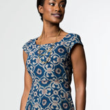 Mata Traders Marseille Hand Block Printed Dress Red Blue CLOSEUP