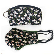 Matching Face Mask and Pouch Set - Black Daisy