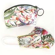 Matching Face Mask and Pouch Set - Bright Tropical