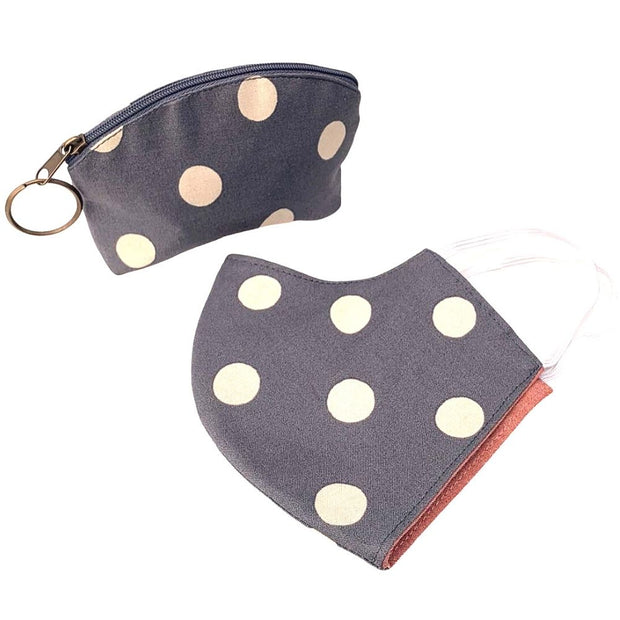 Matching Face Mask and Pouch Set - Grey Polka Dots