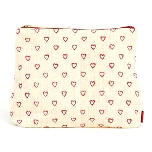 Meena Printed Cotton Vegan Large Pouch - Hearts